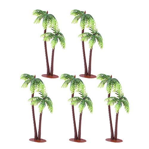 (Tinksky 5Pcs Plastic Coconut Palm Tree Miniature Plant Pots Bonsai Craft Micro Landscape DIY)