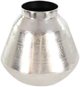 Deco 79 Silver Metal Vase, 14 x 14