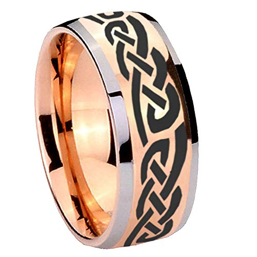 - AnyaDesign Tungsten Celtic Knot Infinity Love Ring, 8mm Glossy Rose Gold Two Tone Dome Tungsten Mens Wedding Band, Man Promise Ring for Him-10
