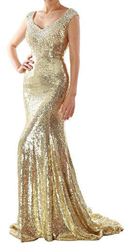 Gown Women Sequin Evening Gold Formal Dress Mermaid Light MACloth Long Party Prom Wedding v0ddqw