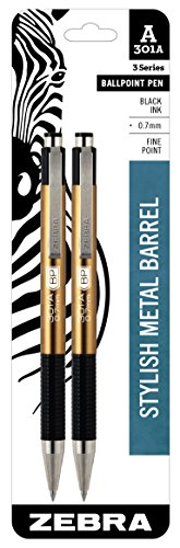 - Zebra 301A Ballpoint Aluminum Retractable Pen, Fine Point, 0.7mm, Gold Barrel, Black Ink, 2-Count