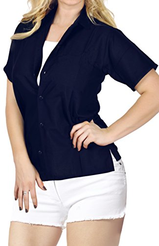 LA LEELA Everyday Essentials Women's Hawaiian Shirt Solid Plain Navy Blue_X525 XXL ()