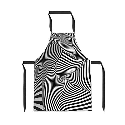 Pinbeam Apron Optical Black and White Twisted Stripes Pattern Twist with Adjustable Neck for Cooking Baking Garden (Ties Twist Stripe)