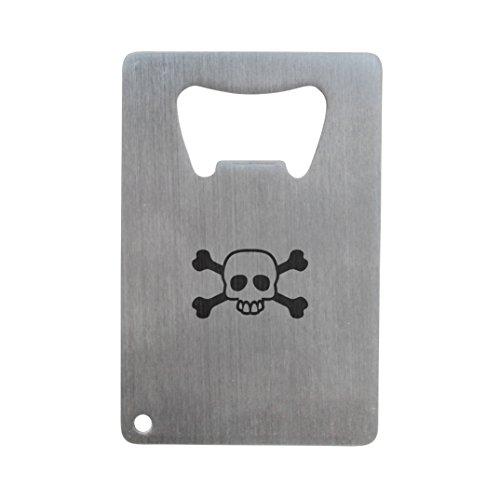 (Skull And Crossbone Bottle Opener, Stainless Steel Credit Card Size, Bottle Opener For Your Wallet, Credit Card Size Bottle Opener)