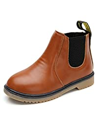 Bumud Kid Boy's Girl's Leather Waterproof Pull-On Martin Boot Winter Shoes