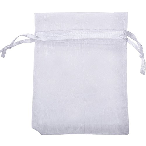 Mudder Organza Gift Bags Wedding Favour Bags Jewelry Pouches, Pack of 100 (White)