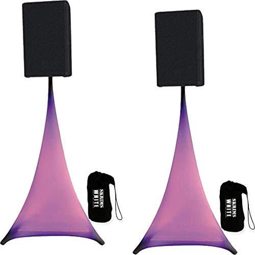 (2-Pack Amazin Gear SKRIMS Tripod Speaker Stand Stretch Covers - Triple Sided DJ Scrims - Spandex DJ Skirts +2 FREE Travel Bags - 3-Sides Perfect for Glow Lighting Effect - WHITE PAIR (SKRIMS-3W-2))