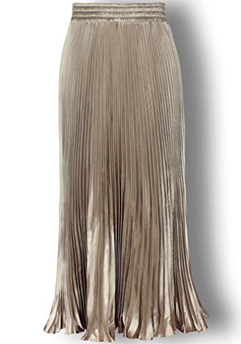 Women's Metallic Luster Pleated Organ Plait Pure Color Vintage Maxi Long Skirt (Champagne gold)