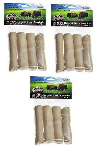 (3 Pack) Tasman's Natural Pet All-Natural Buffalo Rawhide Rolls, 4 Small Rolls each