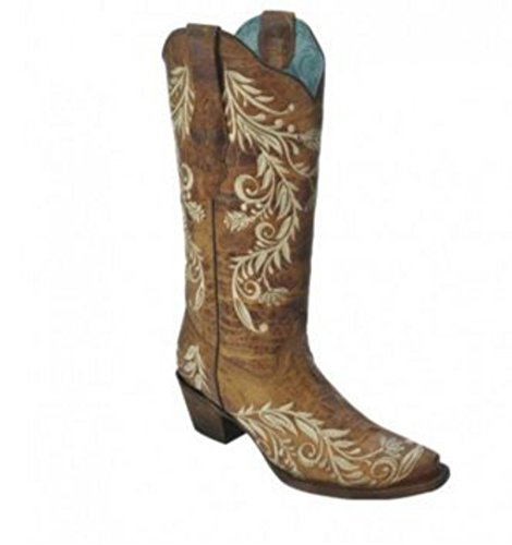 Corral Femmes Antique Selle Sable Côté Broderie Western Boot