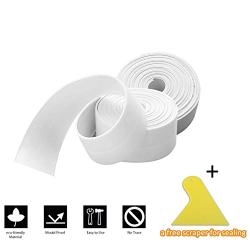 2 Pack Caulk Strip and 1 PC Sealant Tool Kit, Branger PE Sealing Tape Self Adhesive Caulking Sealant Tape Waterproof/Mildew Proof for Bathroom, Kitchen and Wall (38mm x 3.2m x 2 Roll)- White