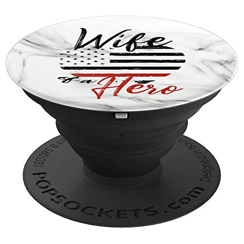 (White Marble, Firefighter Wife, Thin Red Line Flag Heart - PopSockets Grip and Stand for Phones and Tablets)