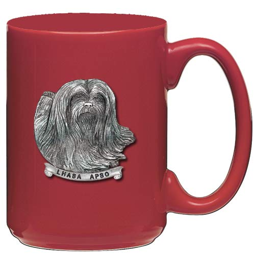 1pc, Pewter Lhasa Apso Coffee Mug, Red ()
