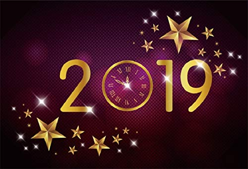 (Yeele 9x6ft New Year Photography Background Clock Dial Countdown 2019 Pentagram Shining Point Purple Smoke Happy New Year Photo Backdrops Pictures Photoshoot)