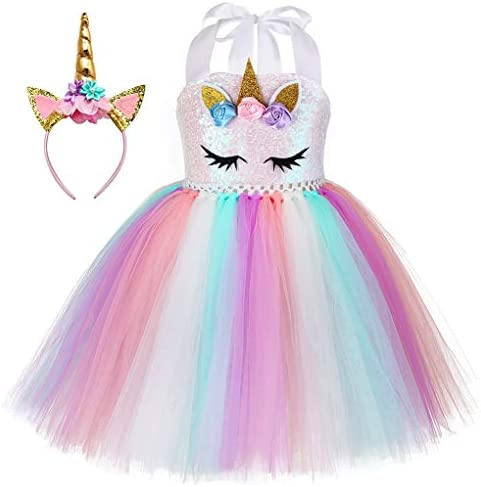 JerrisApparel Girls Unicorn Costume Birthday Party Outfit Rainbow Tutu Skirt Set