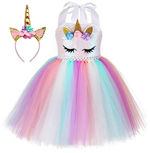 Unicorn Costume for Girls Dress Up Clothes for Little Girls Rainbow Unicorn Tutu with Headband Birthday Gift]()
