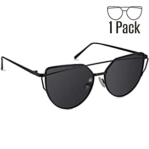 Livhò Sunglasses for Women, Cat Eye Mirrored Flat Lenses Metal Frame Sunglasses UV400 (Black)