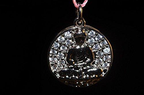 • Bella-gems • 14x2mm Excellent Quality & Design~Silver Rhodium Plated BUDDHA CZ Micropavé Diamond/Cubic Zirconia Disc Charm - D1112