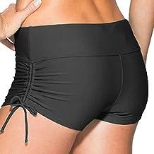 Imixshopcs Women Ladies Girls Adjustable Drawstring Mini Swim Shorts Bikini Swimwear Boy Style Short Brief Bottoms (M, Black)