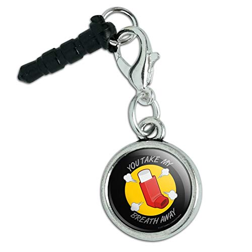 You Take My Breath Away Asthma Inhaler Funny Humor Mobile Cell Phone Headphone Jack Anti-Dust Charm fits iPhone iPod - Charm Breath
