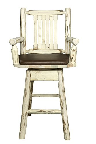 Montana Woodworks MWBSWSCASSADD Montana Collection Captain's Barstool with Back & Swivel, Ready to Finish with Upholstered Seat, Saddle Pattern