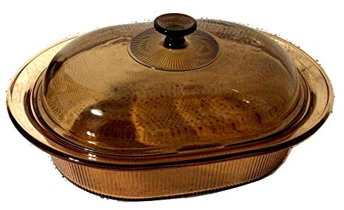RARE--Corning Vision Visions 4L (4 qt.) Amber Covered Oval Roaster Casserole w/ Domed Lid
