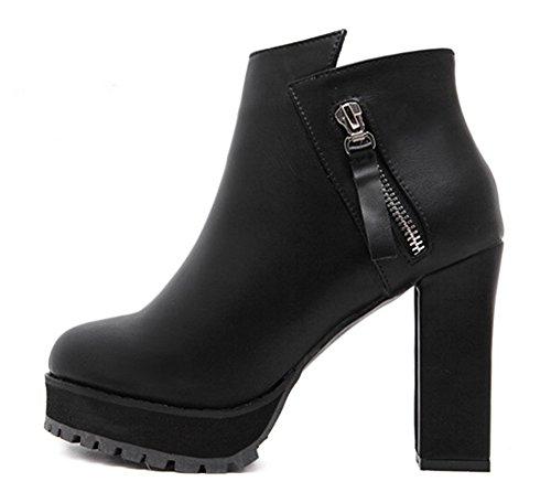 Aisun Bottines Plateforme Noir Haut Talon Confort Low Femme Boots RwqH1rzR