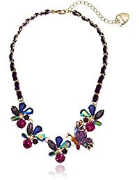 Betsey Johnson (Gbg) Butterfly & Stone Cluster Frontal Necklace, Purple, One Size