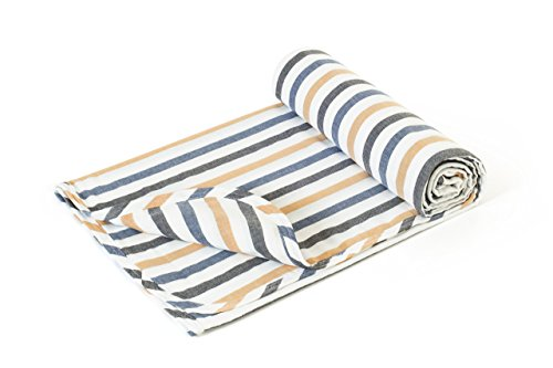 Henry and Bros. Large Double Layer Toddler Blanket, Girl Nap Blanket/Boy Nap Blanket, Light Blanket For Kids, Kids Blanket Patterns Made Of 100% Cotton (Classic Navy and Gold Stripe)