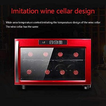 YFGQBCP Enfriador de Vino Nevera, Blanco y Vino Tinto Nevera Chiller encimera Enfriador de Vino, Independiente Compacto Mini Vino Frigorífico Capacidad 8 Botella, Smart Touch Panel