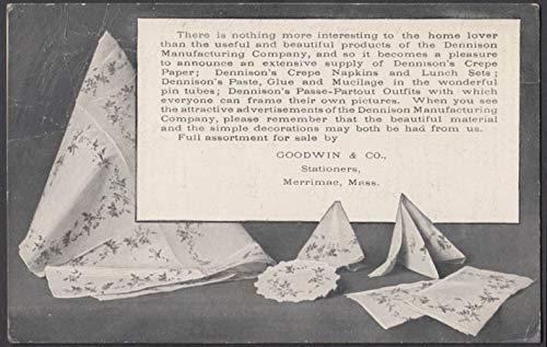 Dennison Crepe paper Napkins at Goodwin & Co Merrimac MA postcard 1906