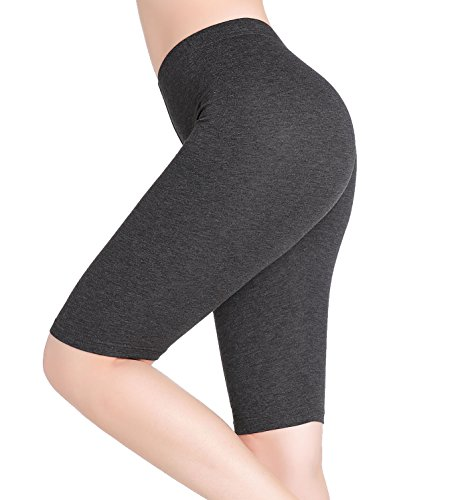 CnlanRow Womens Under Skirt Shorts Soft Stretch Short Knee Leggings Fitness Sport Pants,X-Large,Dark Gray