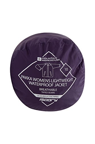 Mountain Warehouse Veste de pluie Femme Imperméable Capuche Coupe Vent Pakka Violet 48