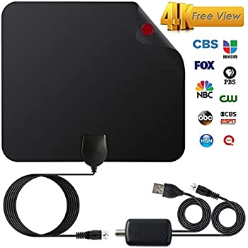 2018 Upgraded Version HDTV Antenna, HD Digital Indoor TV Antenna, 60-120 Miles Long Range with Amplifier Signal Booster for 1080P 4K Free TV Channels, Amplified 16ft Coax Cable