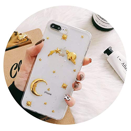 Luxury Space Moon Glitter Phone case for iPhone Xs MAX XR 7 8 Plus Marble Clouds Case for iPhone Xs X 8 6S 7 6 fundas Wave Point,Transparent Moon,for iPhone 6 6s ()