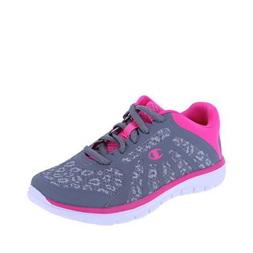 (Champion Grey Pink Leopard Girls' Gusto Runner 2 Regular)