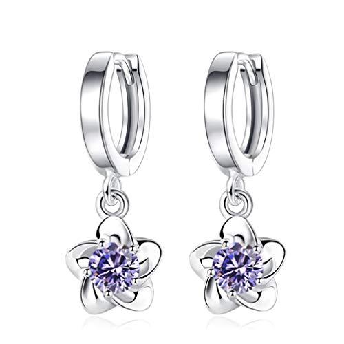 (DearAnswer Plum Flower Drop Earrings Twinkle Flower Drops Pendant Elegant Crystal Earrings Jewellery Dainty)