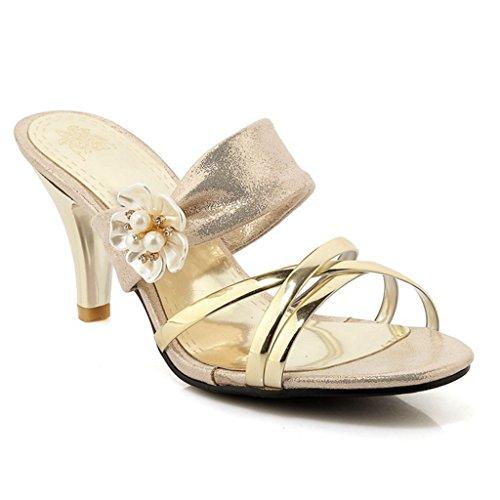 GIY Women's Flower Crisscross Dress Slip On Slide Sandals Open Toe Stiletto Kitten Heels Shoes Gold ()