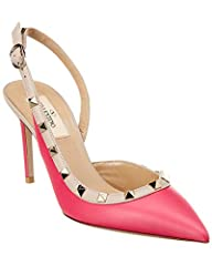 Made in Italy. Color/material: disco pink leather. Design details: platinum finish rockstuds. Buckle closure. Lightly padded leather insole. Smooth leather sole. 3in heel. Please note: All measurements are approximate and were taken from a si...
