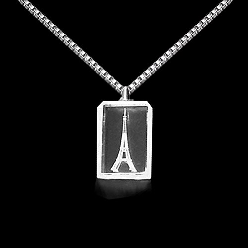 Laser Engraved Crystal (3D Laser Personalized Custom Engraved Crystal Necklace Silver Chain 1.9x1.2x0.3 Inches)