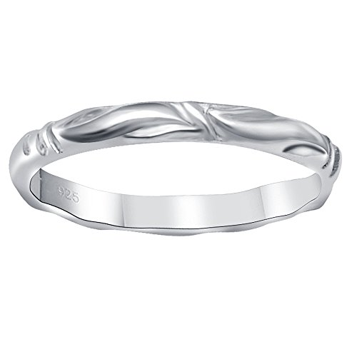 Essence Jewelry Swirl 925 Sterling Silver Wedding Band (Orchid Band)