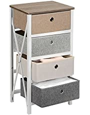 SortWise Dresser Storage Tower MDF Wood End Table/Night Stand with 4 Storage Bins, Removeable Storage Drawer