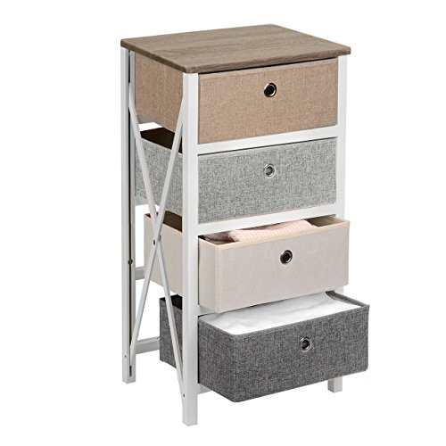 SortWiseTM MDF Wood End Table/Night Stand with 4 Storage Bins, Removeable Storage Drawer