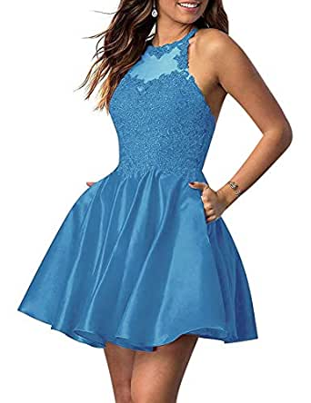 Jonlyc A Line Beaded Appliques Satin Homecoming Dresses with Pockets Blue 18W