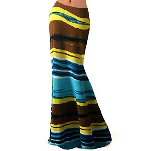 Aisa Des Femmes De Damassé Multicolore Deux Tons Jupe Maxi Imprimé Multi-14