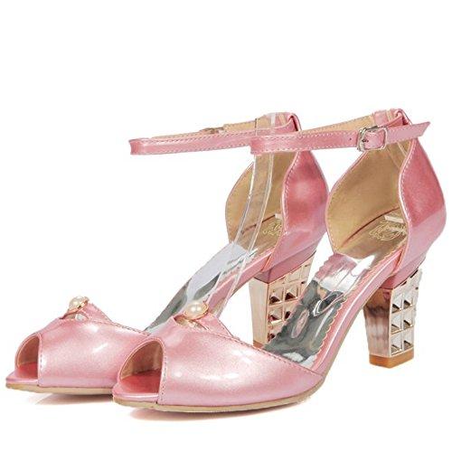 TAOFFEN Women Peep Toe Heels Sandals Pink Lv3iFeoL