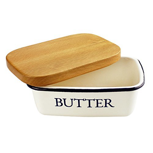 Homelet Butter Dish - Enamel Keeper Unbreakable Butter Boat Container with Beechwood Lid for Kitchen, -