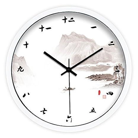 Moju super silencioso muro relojes marcando no barrido tranquila relojes decorativos para el Salón Dormitorio Comedor Office , caja de pinturas metálicas ...