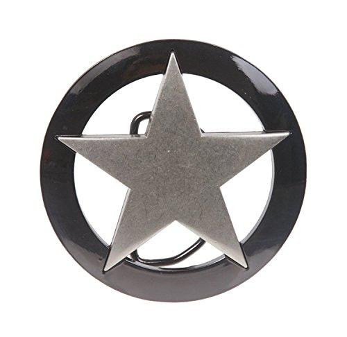 MONIQUE Men Silver Star Gun Metal Circle Background Law Texas Star Belt Buckle