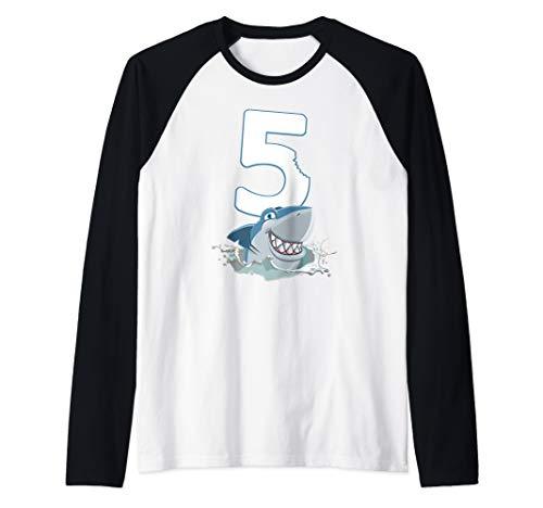 5th Birthday Shark Boys 5 Years Old Ocean Animal Raglan Baseball Tee